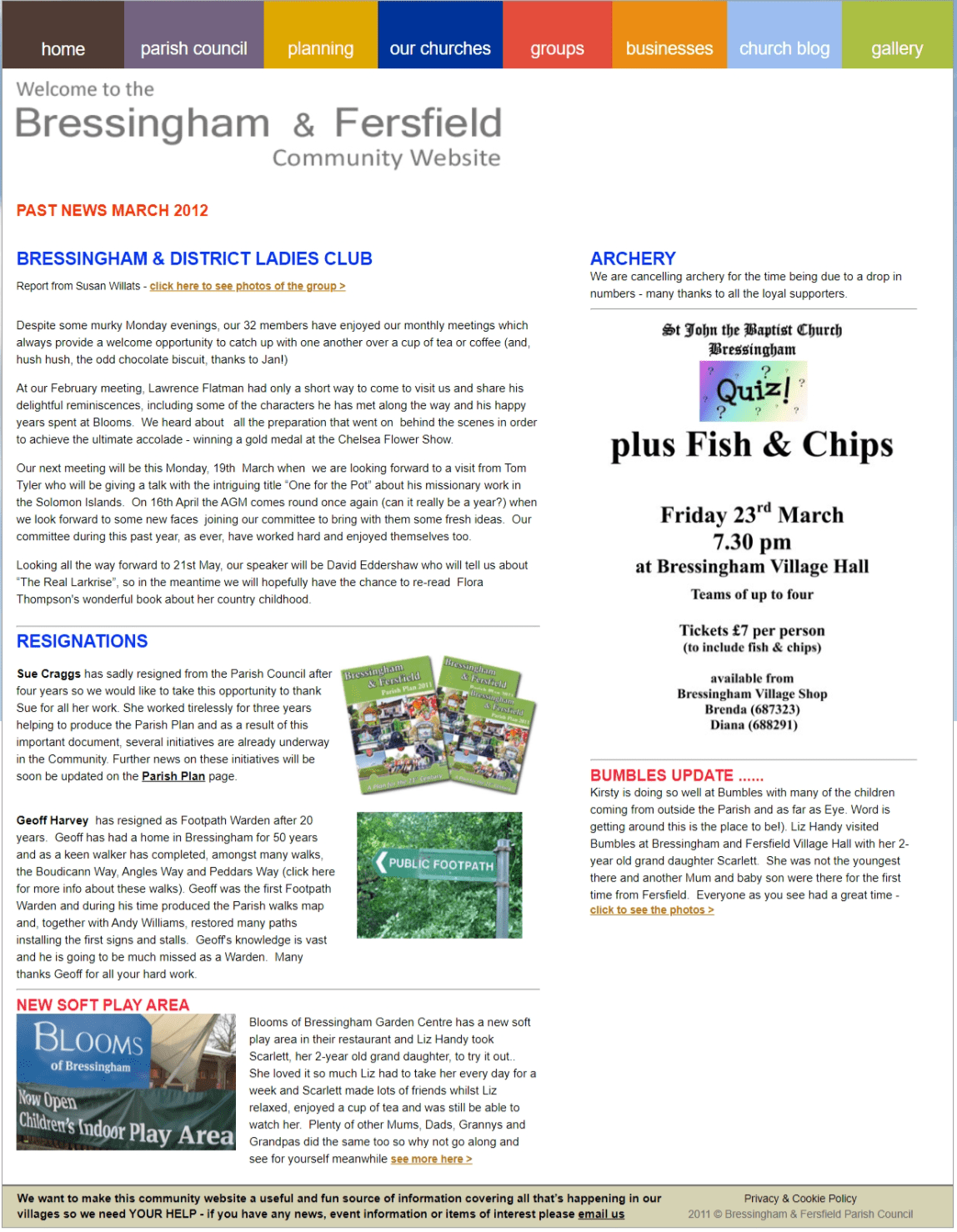 Past News Mar 2012 - Bressingham and District Ladies Club Report