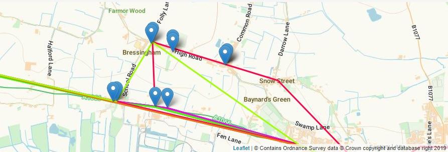 Map of Bressingham Bus Stops