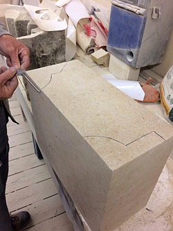 Stone block ready to be carved in workshop