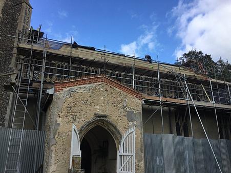 Image of scaffolding on rear of St John's