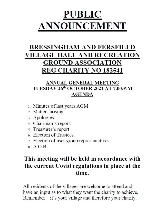 Village Hall AGM Poster